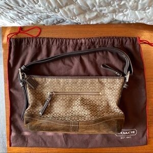 Coach Signature C shoulder bag brown suede trim